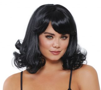 Mid-Length Black Curly Wig
