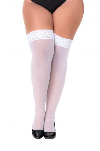 1094X One Size Plus White Mesh Thigh Highs