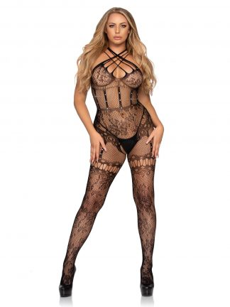 Net And Lace Strappy Halter Bodystocking With Rhinestone Accents