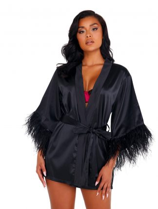 LI399 Soft Satin Robe with Ostrich Feathered Trim