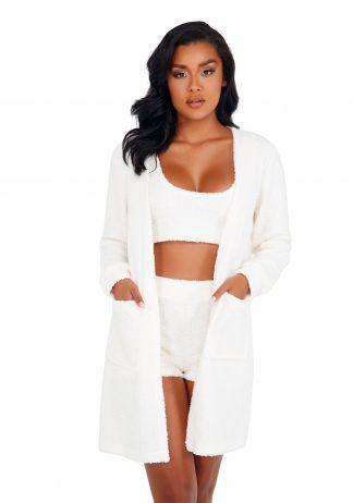 LI411 1pc Cozy & Comfy Fuzzy Robe with Pockets