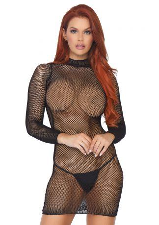 Fishnet Longsleeve Mini Dress
