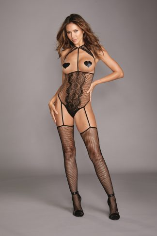 Fishnet & Lace Open-Cup Teddy Bodystocking