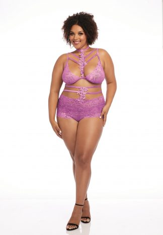 Plus Stretch Galloon Lace Bralette and Panty Set