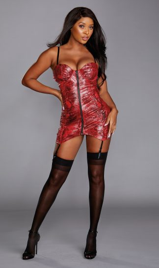 Stretch Shiny Snakeskin Printed Microfiber Garter Slip With Front Zipper