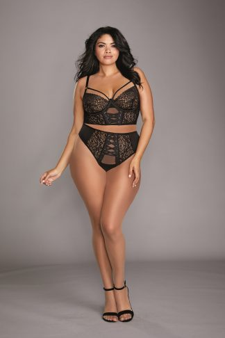 Plus Size Stretch Mesh & Galloon Lace Underwire Bustier & Lace-Up Panty Set