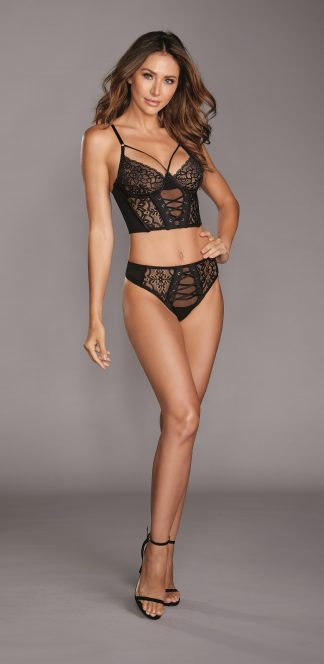 Stretch Mesh & Galloon Lace Underwire Bustier & Lace-Up Panty Set