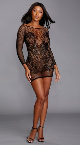Seamless Fishnet & Lace Versatile Long-Sleeved Chemise