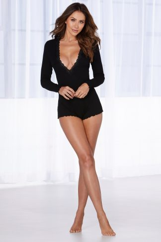 Stretch Rib Knit Sleepwear Romper With Plunge Neckline
