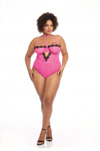 Plus Size Stretch Mesh & Venise Lace Teddy