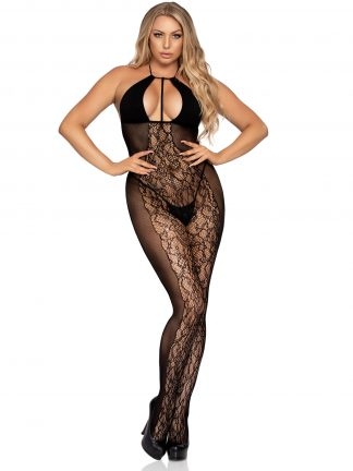 Lace And Opaque Bodystocking With Keyhole Halter Top