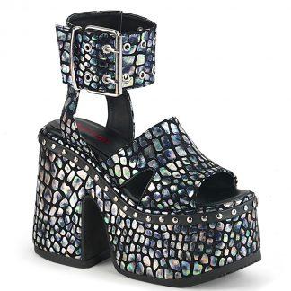 "Demonia CAMEL-102 5"" Chunky Heel 3"" Platform Eyelet Ankle Strap Sandal"