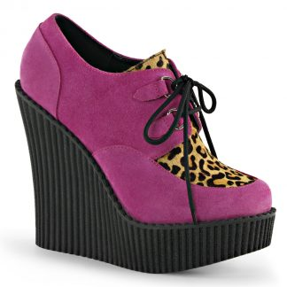 """Demonia CREEPER-304 5 1/4"""" Wedge PF Lace-Up Creeper with Leopard Print Accents"""
