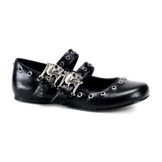 Demonia DAISY-03 Ballet Flat Double Strap MJ with Skull Buckle Eyelet Detailing