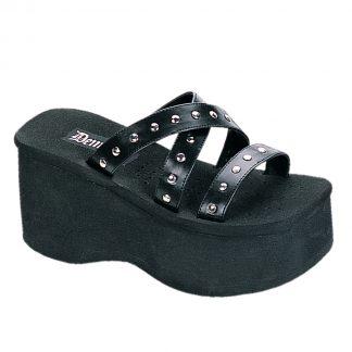 """Demonia FUNN-19 3 1/2"""" Studded Straps Black Sandal"""
