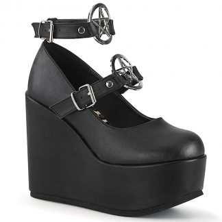 "Demonia POISON-99-1 5"" Wedge PF Mary Jane with Pentagram O-Ring & Stud Detail"