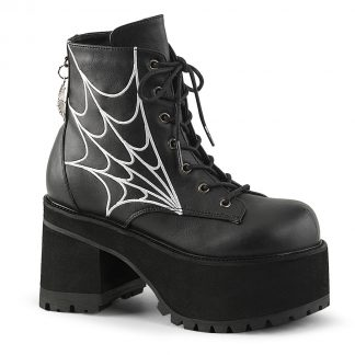 "Demonia RANGER-105 3 3/4"" Heel 2 1/4"" PF Ankle Boot with Spider Web Embroidery"