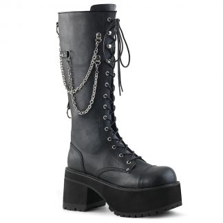"Demonia RANGER-303 3 3/4"" Heel 2 1/4"" PF Knee High Boot Metal Side Zip"