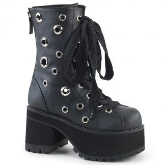 "Demonia RANGER-310 3 3/4"" Heel 2 1/4"" PF Lace-Up Ankle Boot Back Zip"