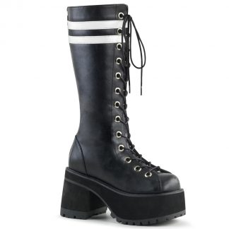 "Demonia RANGER-320 3 3/4"" Heel 2 1/4"" PF Knee High Boot Back Metal Zip"