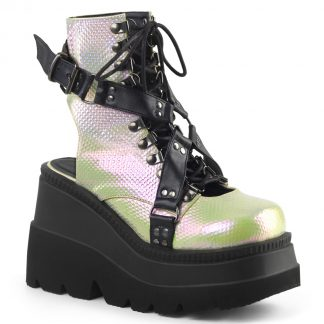 "Demonia SHAKER-56 4 1/2"" Wedge Platform Open Back Lace-Up Ankle Boot"