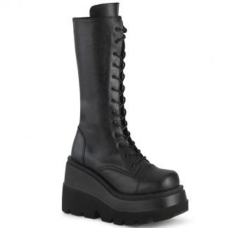 "Demonia SHAKER-72 4 1/2"" Wedge PF Lace-Up Mid-Calf Boot Side Zip"