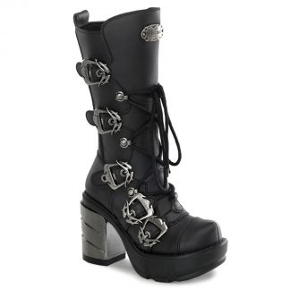 "Demonia SINISTER-203 3 1/2"" Chromed ABS Heel 1 1/2"" Molded PF Calf Boot"