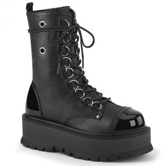 "Demonia SLACKER-150 2"" PF Lace-Up Mid-Calf Boot Side Zip"