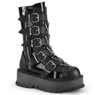 "Demonia SLACKER-160 2"" PF Mid-Calf Boot with 5 Buckle Straps Outside Zip"