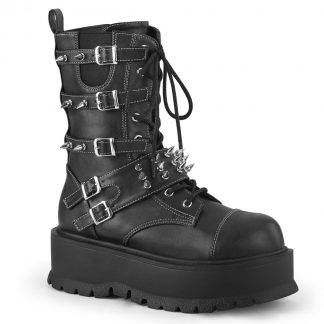 "Demonia SLACKER-165 2"" PF Lace-Up Mid-Calf Boot Side Zip"