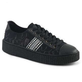 "Demonia SNEEKER-106 1 1/2"" PF Round Toe Lace-Up Front Low Top Creeper Sneaker"
