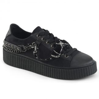"Demonia SNEEKER-112 1 1/2"" PF Round Toe Lace-Up Front Low Top Creeper Sneaker"