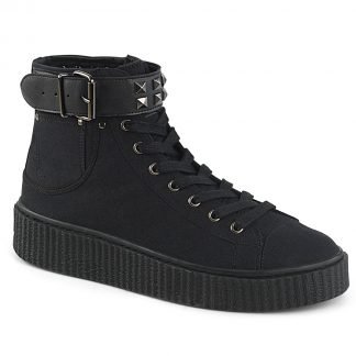 "Demonia SNEEKER-255 1 1/2""PF Round Toe Lace-Up Front High Top Creeper Sneaker"