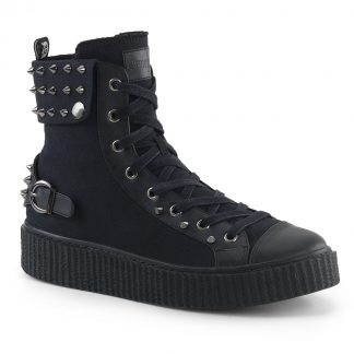 "Demonia SNEEKER-266 1 1/2"" PF Round Toe Lace-Up Front High Top Creeper Sneaker"
