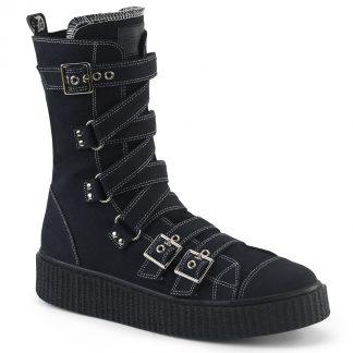 "Demonia SNEEKER-318 1 1/2""PF Round Toe Zig-Zag Buckle Calf High Creeper Sneaker"