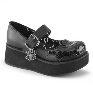 "Demonia SPRITE-05 2 1/4"" PF Mary Jane with Spider Charm & Cross Detail"
