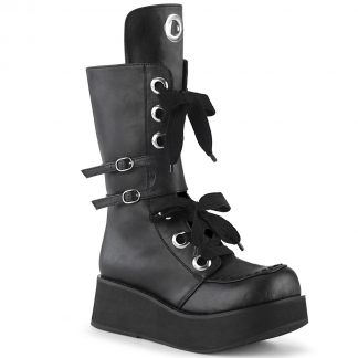 "Demonia SPRITE-210 2 1/4"" PF Lace-Up Mid-Calf Boot Side Zip"
