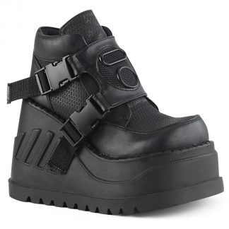 "Demonia STOMP-15 4 3/4"" Wedge PF Bootie with Snap Buckle Detail"