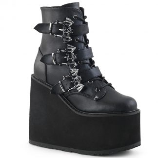 """Demonia SWING-103 5 1/2"""" PF Lace-Up Ankle Boot with 3 Buckle Straps Side Zip"""