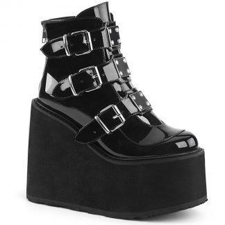 """Demonia SWING-105 5 1/2"""" PF Ankle Boot with 3 Buckle Straps Back Zip"""