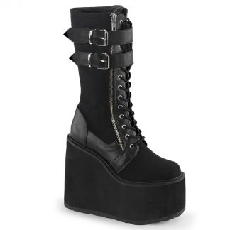 """Demonia SWING-221 5 1/2"""" PF Lace-Up Knee Boot with Exposed Zipper & Buckle Strap"""