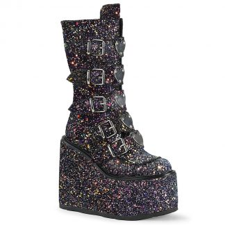 """Demonia SWING-230G 5 1/2"""" PF Mid-Calf Boot with 5 Buckle Straps Back Metal Zip"""