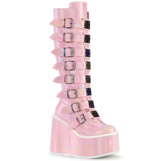 "Demonia SWING-815 5 1/2"" PF Knee High Boot with 8 Buckle Straps Back Metal Zip"