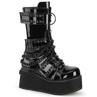 "Demonia TRASHVILLE-138 3 1/4"" PF 3 Hook and Loop Strap Mid-Calf Boot Back Zip"