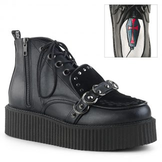 "Demonia V-CREEPER-555 2"" PF Oxford Lace-Up High-Top Creeper Outer Side Zip"