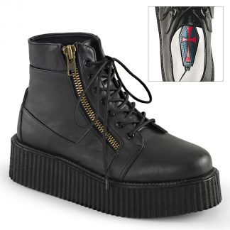 """Demonia V-CREEPER-571 2"""" PF Lace-Up Creeper Bootie with Exposed Zipper Detail"""