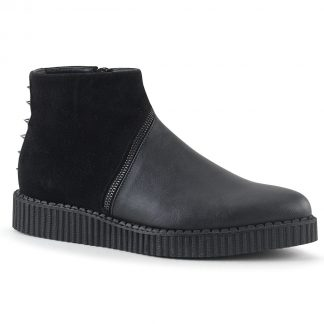 """Demonia V-CREEPER-750 1 1/4"""" PF Pointed Toe Ankle Boot Creeper Side Zip"""