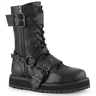 "Demonia VALOR-220 1 1/2"" Platform Lace-Up Mid-Calf Boot Side Zip"