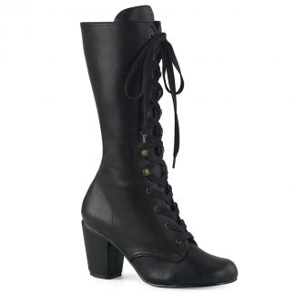 "Demonia VIVIKA-205 3"" Block Heel Round Toe Lace-Up Mid-Calf Boot Size Zip"