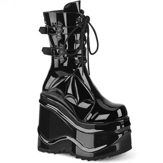 "Demonia WAVE-150 6"" Wedge PF Lace-Up Mid-Calf Boot Back Metal Zip"
